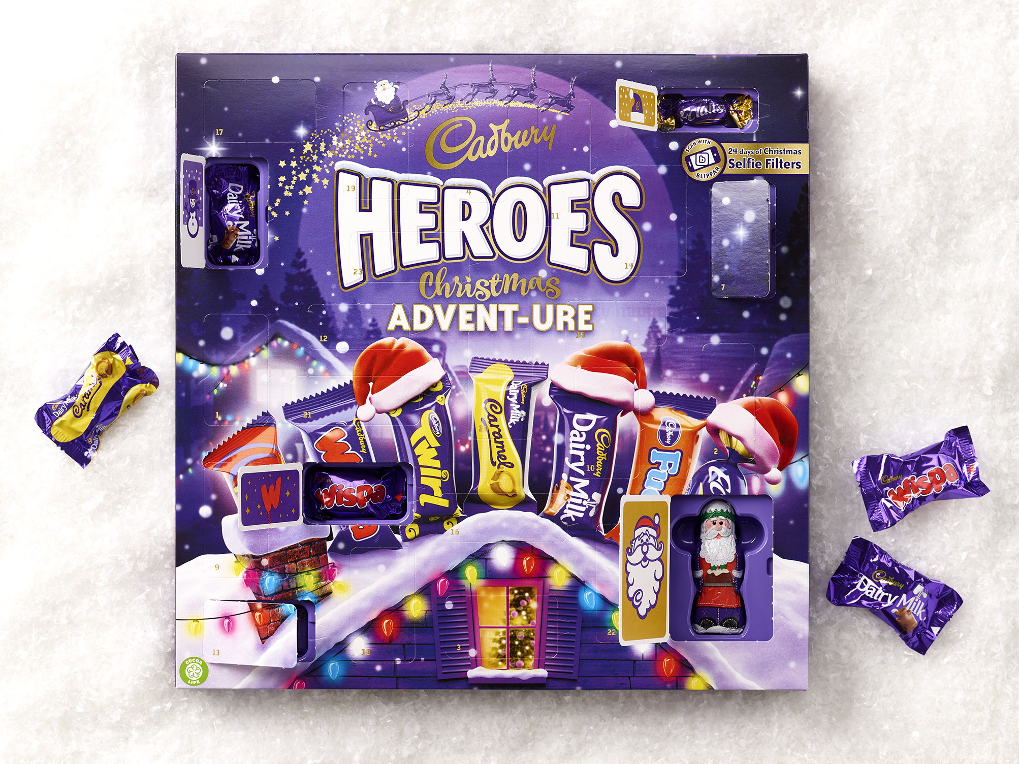 Cadbury Heroes Advent Calendar 2017 snow and chocs.jpg