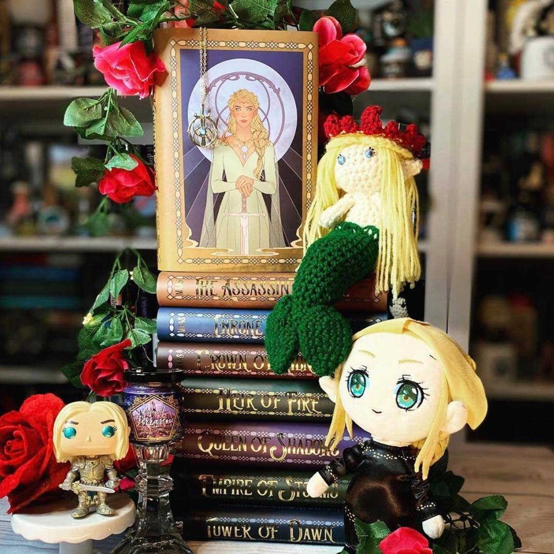 Exclusive Dust Jacket Set by Gabriella Bujdoso for the Throne of Glass Complete Series, Eye of Elena Necklace, and Fae Queen Plushie
