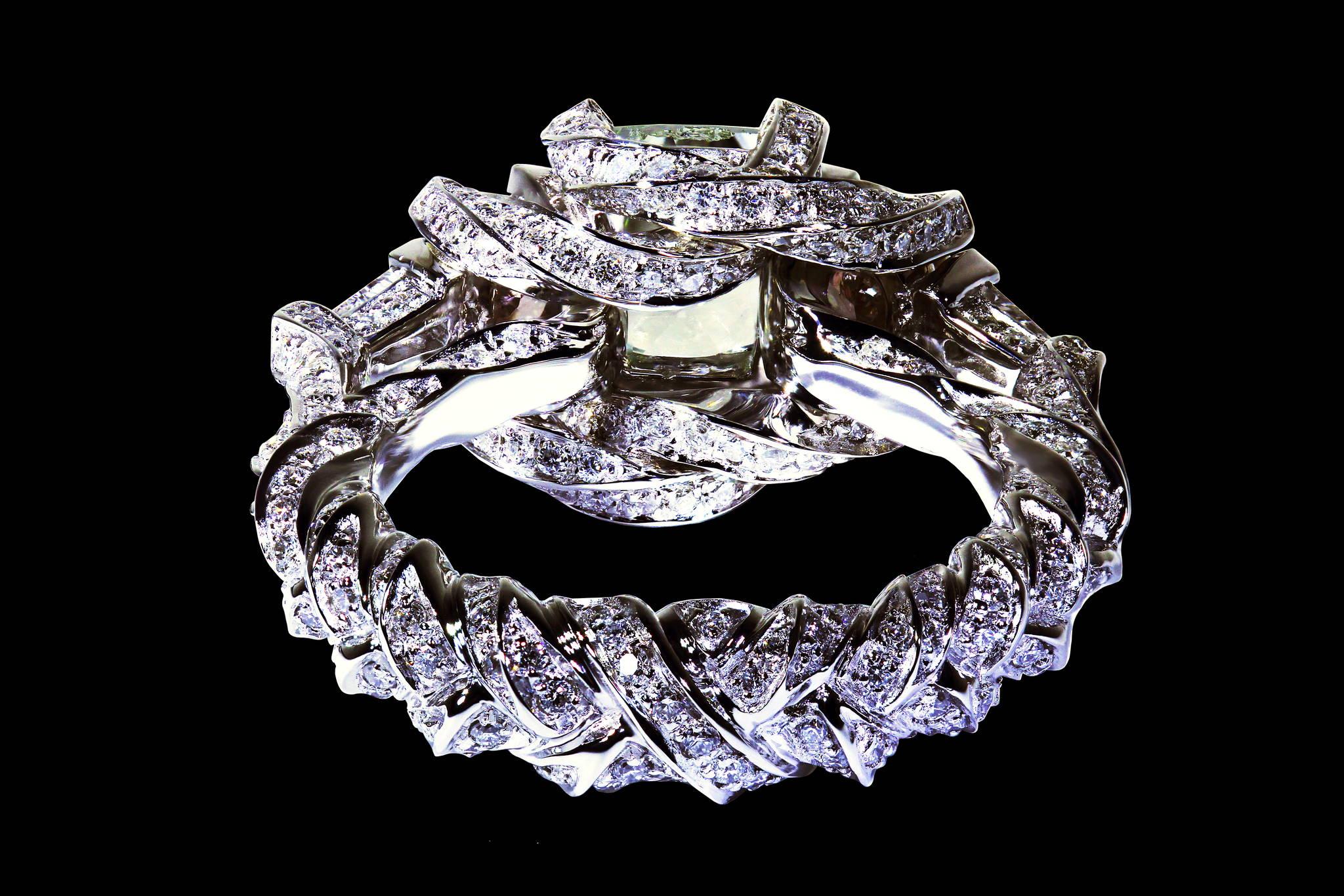 Braided Shank Diamond Ring back view