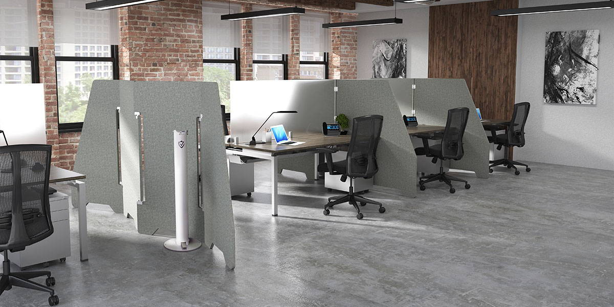 Facing Desk Pods with PET room dividers