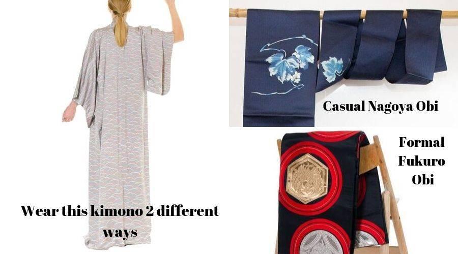 2 different ways to wear a kimono with nagoya obi or fukuro obi