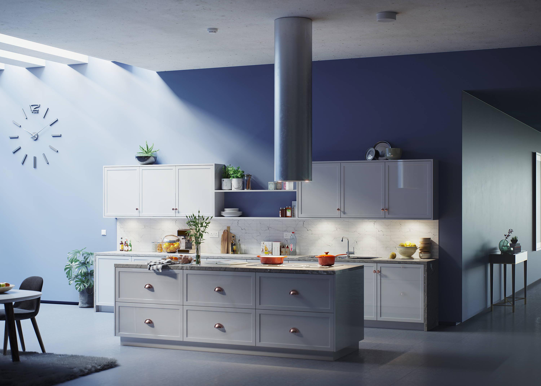 Modern kitchen grey  breakfast bar and cupboard doors