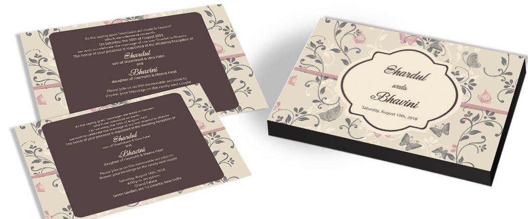 Vintage Wedding Invitation Card with Butterfly Theme