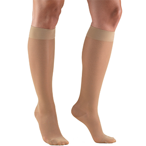Ladies' Knee High Closed Toe Sheer Stocking in Light Beige