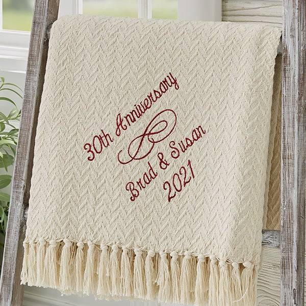 No matter how many years you've been together, this embroidered anniversary blanket is a perfect anniversary gift idea. Featured with an elegant and plush design, it will not make your recipient dissatisfied.