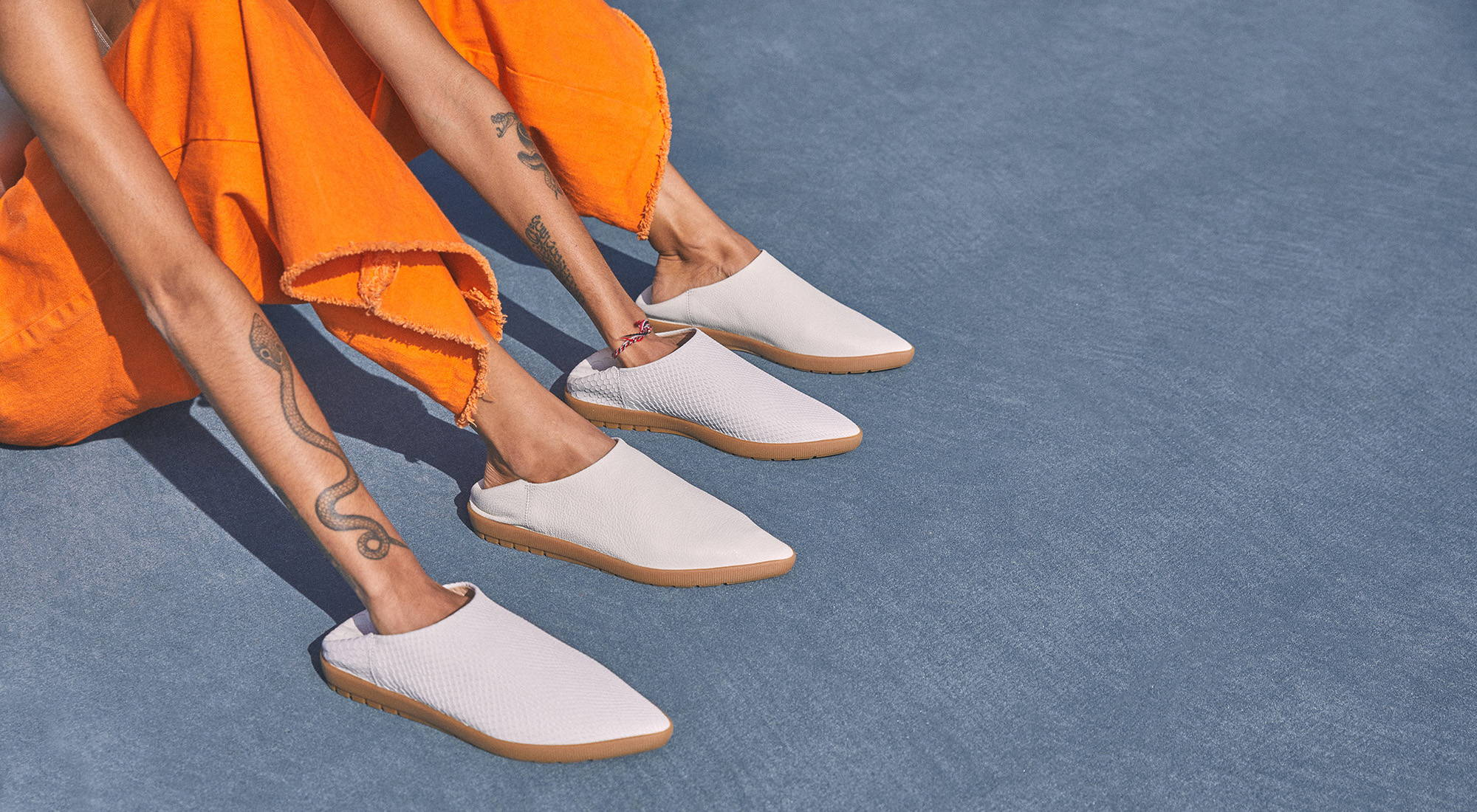 White shoes with orange dress