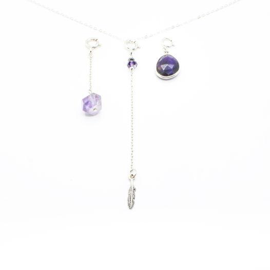 Комплект из трех сменных подвесок для колье-галстука, серебро, аметист