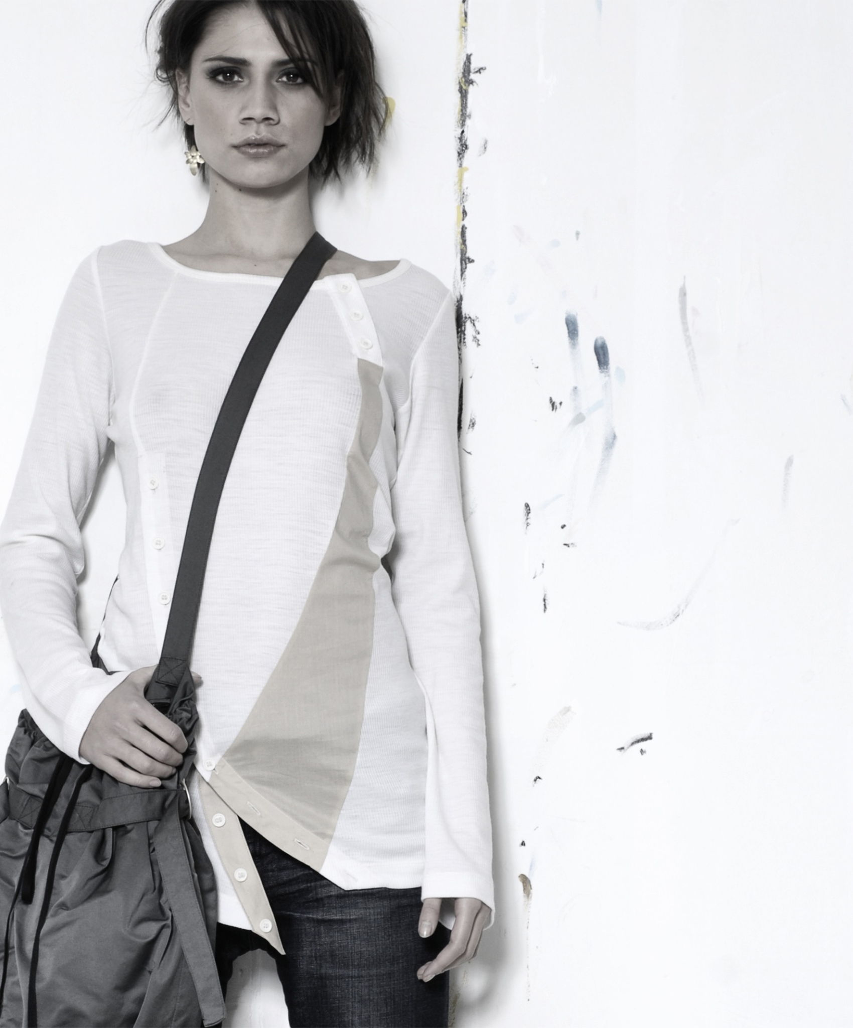 wool jersey top with asymmetrical cut
