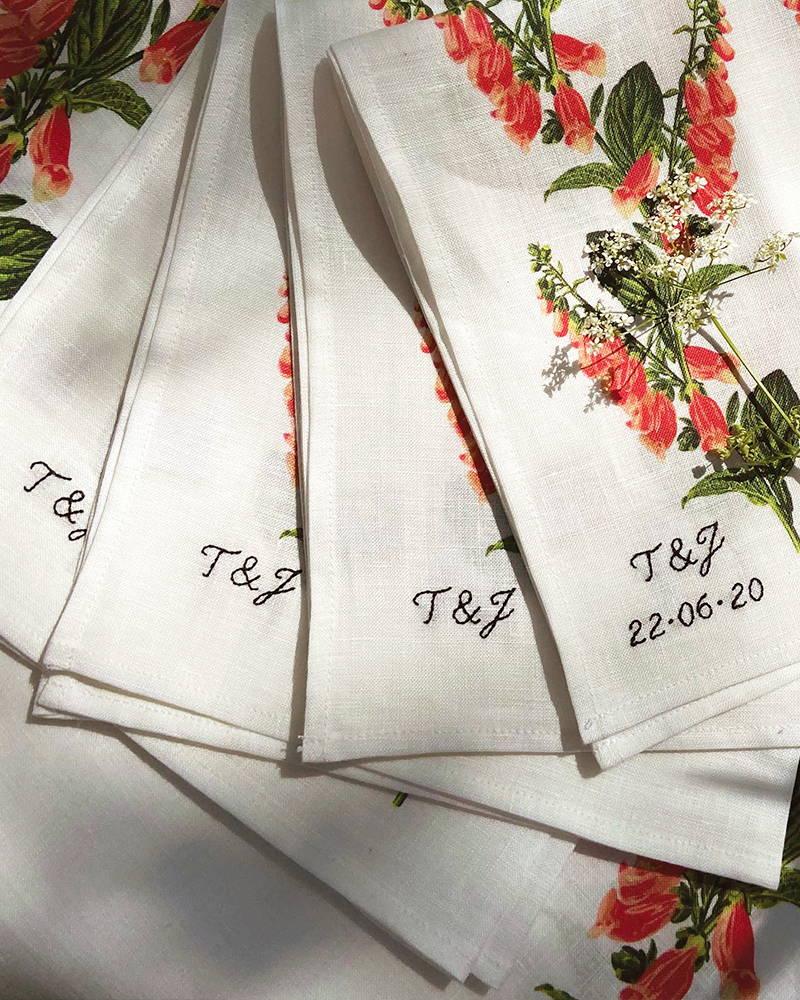 YOLKE monogrammed foxglove tablecloths