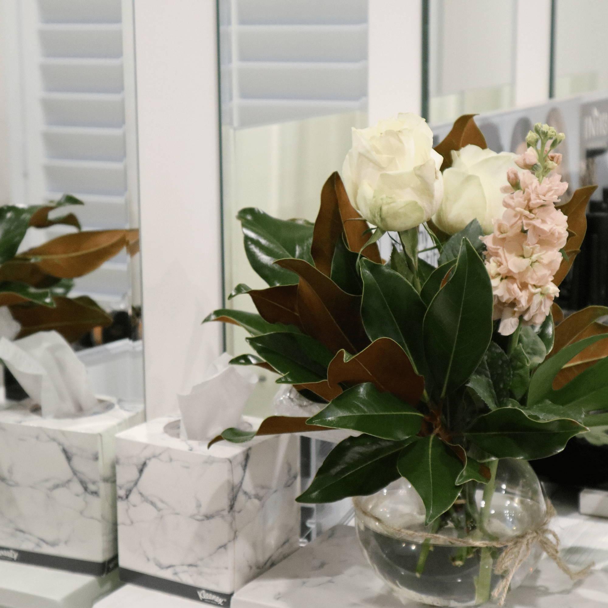 Flowers on Desk at our Australian Skin Clinic