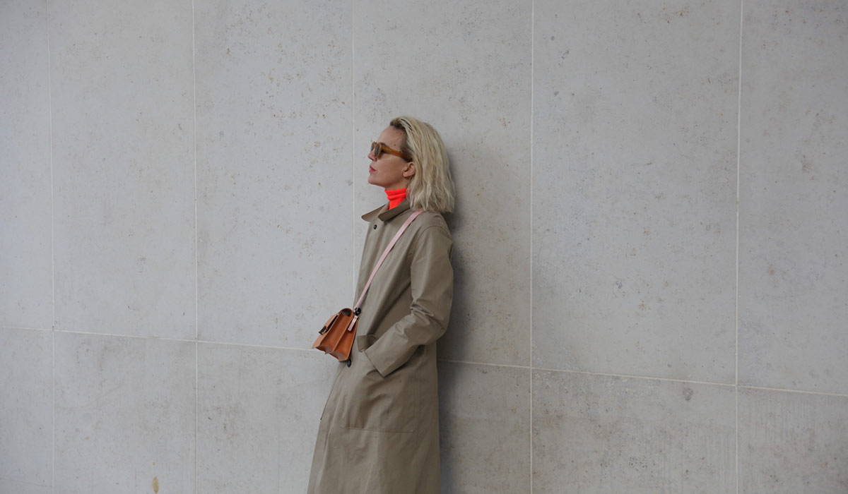 Frith Kerr wearing an Ally Capellino bag