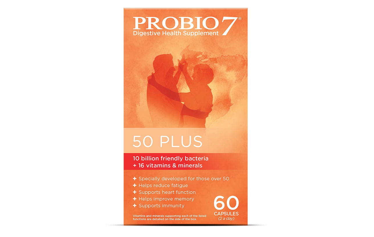 Probio7 50 Plus. Friendly bacteria and a mixture of vitamins and minerals, plant extracts and fish oils to support those over 50 years.