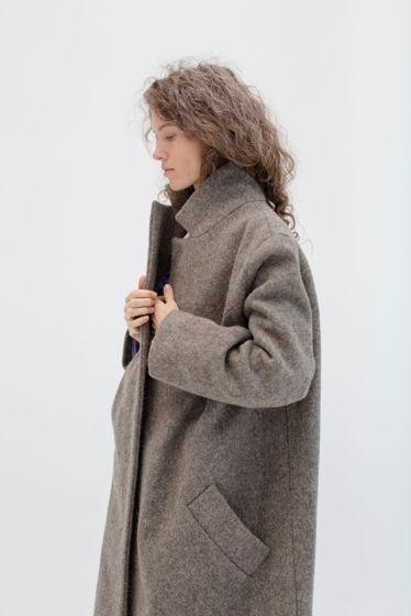зимнее шерстяное пальто на хлопковой подкладке *светлый орех*