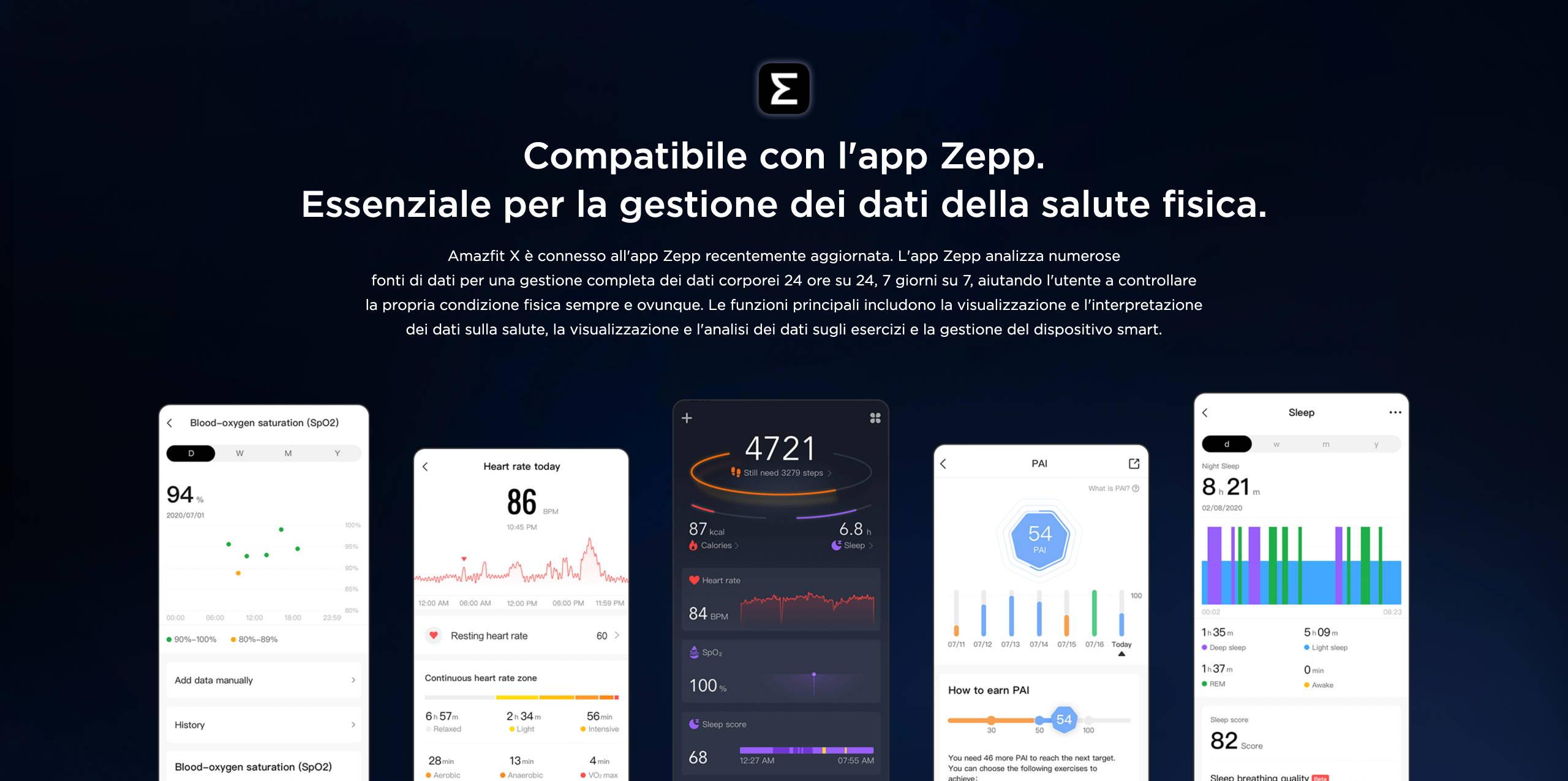 Amazfit X - Compatibile con l'app Zepp. Essenziale per la gestione dei dati della salute fisica.