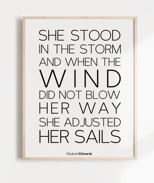 She Stood In the Storm Quote Wall Art