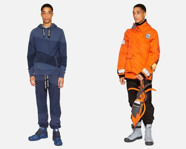 Man wearing bright orange waterproof jacket and trousers made from recycled lifeboat kit and man wearing organic cotton blue asymmetric stripe hoodie and sweatpants with Raeburn branding