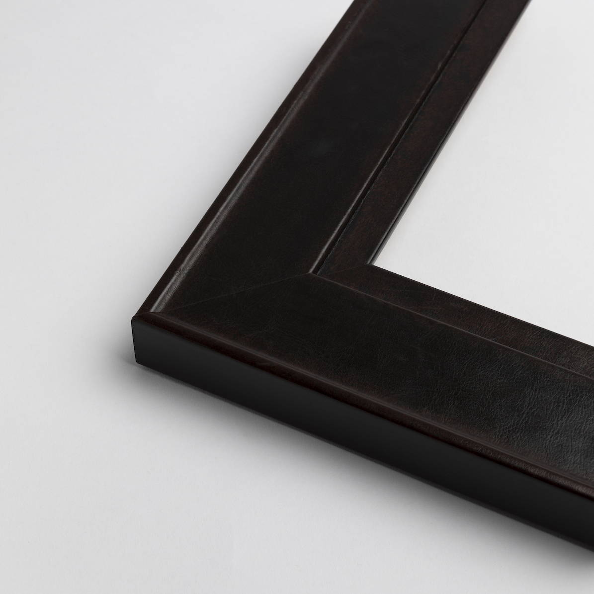 TV-Mirror Leather Look Frame Mahogany by FRAMING TO A T