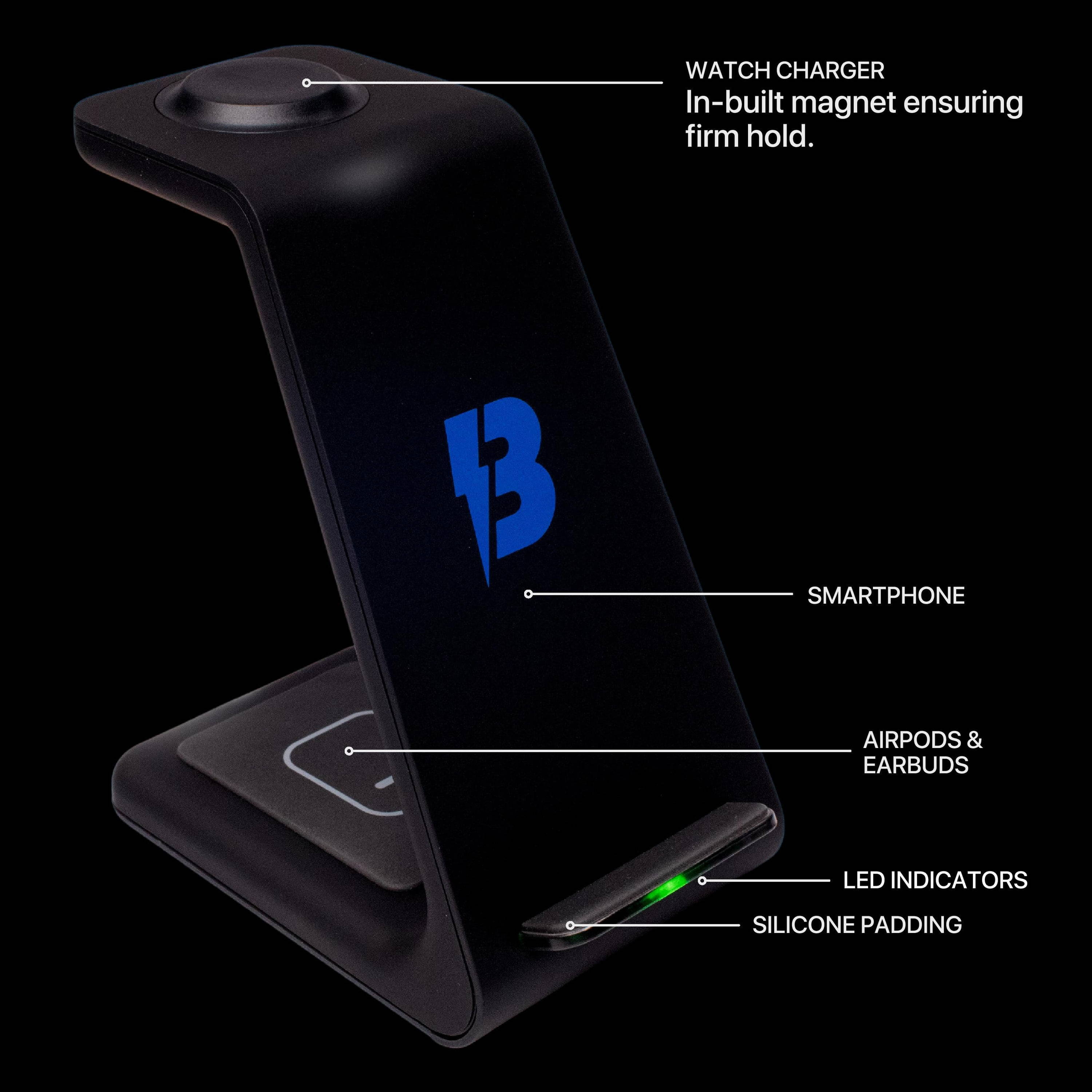 bolthome 3 in 1 charging station diagram showing features