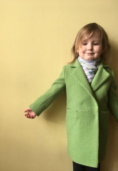 Пальто для девочки в цвете «Свежая зелень», шерсть 50%