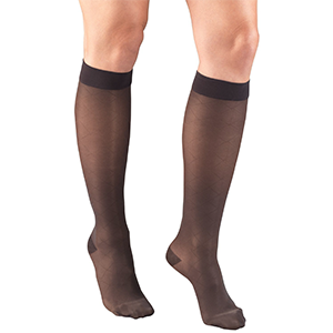 Ladies' Knee High Diamond Pattern Sheer Stockings in Charcoal