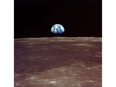 EARTHRISE CANVAS, SIGNED BY BUZZ ALDRIN, MICHAEL COLLINS AND ARMSTRONG SONS