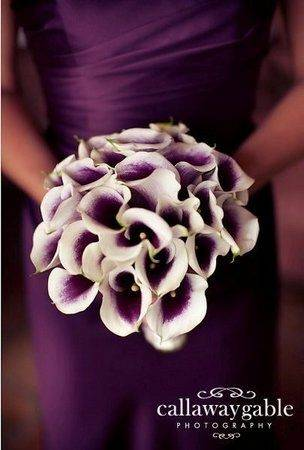 purple dress with purple bouquet of flowers