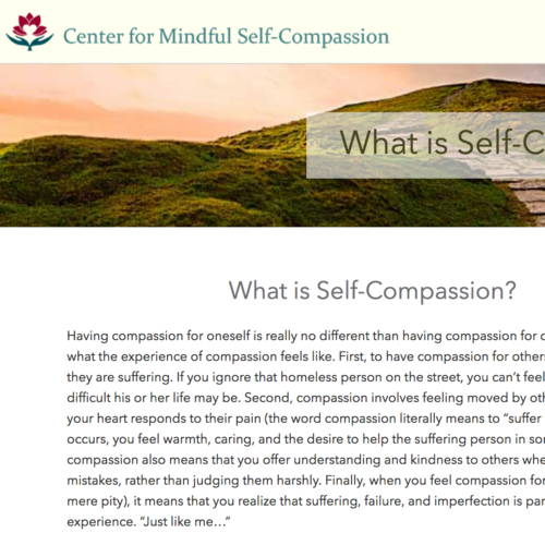 home page of center for mindful self-compassion to help nicu moms have compassion for themselves