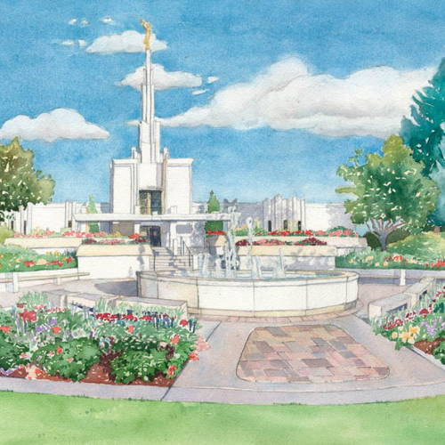 Painting of the Denver Temple, flower beds, and  fountain.