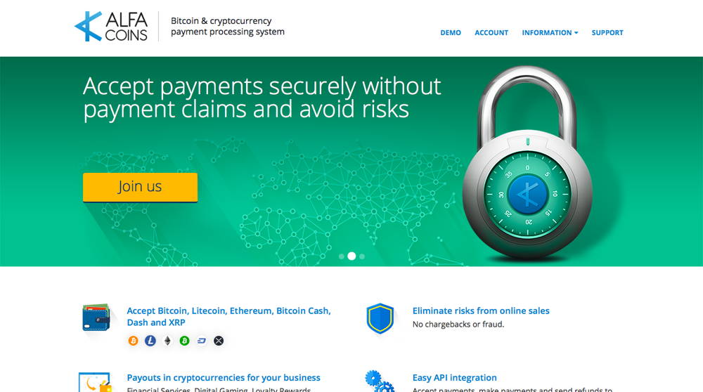 Alphacoins cryptocurrency payment processor interface