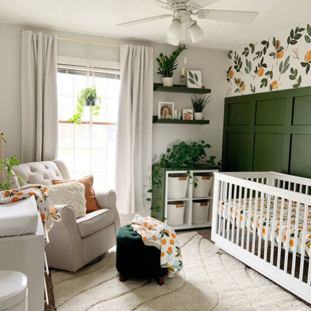 summer clementine theme neutral nursery with crib, storage, rocking chair and changing table