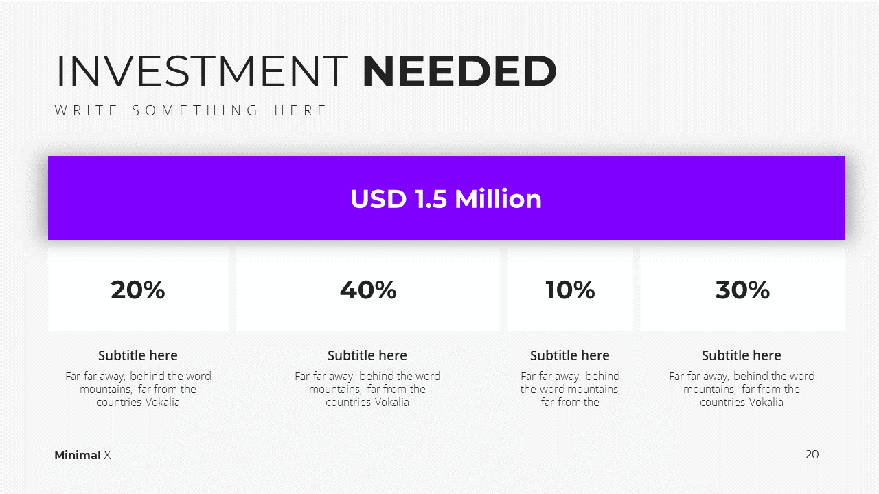 Minimal X  Pitch Deck Presentation Investment