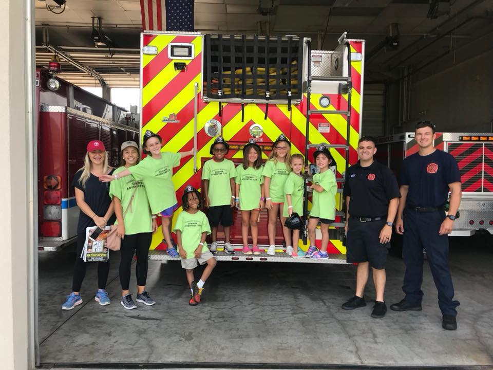 summer adventure club with firefighters