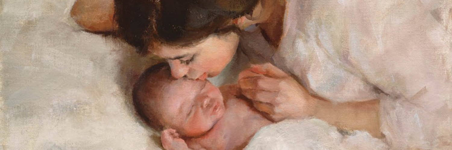 Painting of Mary kissing infant Jesus' head.