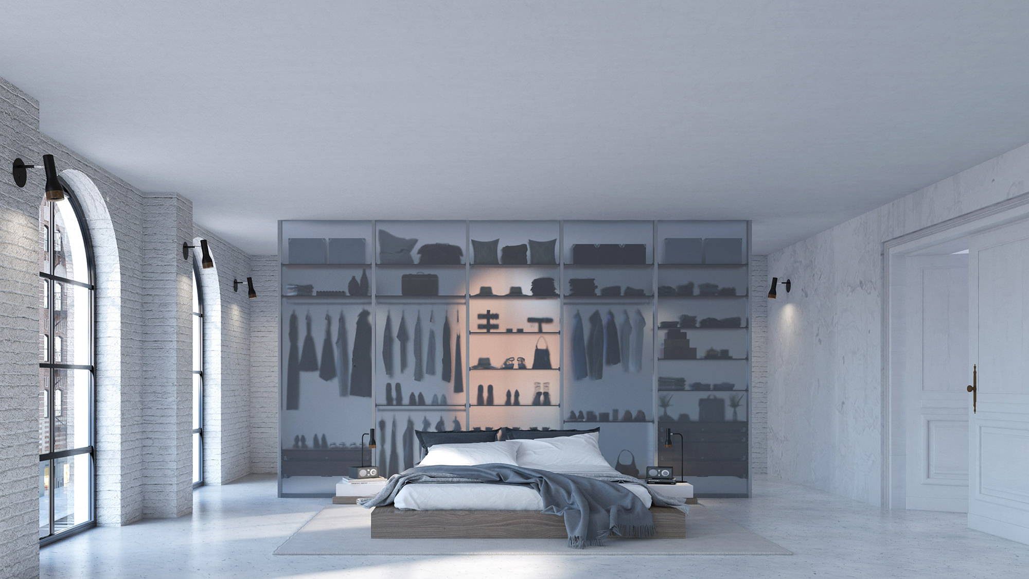 walk-in closet as a bedroom seperation