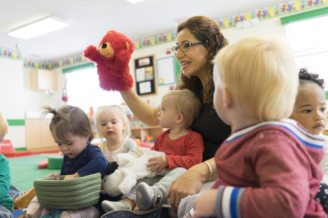 teacher class students puppet