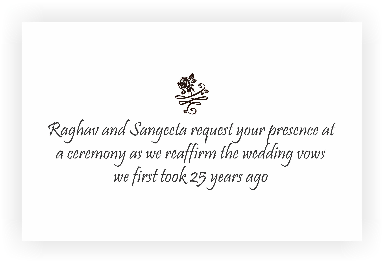 Wedding Anniversary Invitation Message: 25th Wedding Anniversary Invitation & Return Gifts