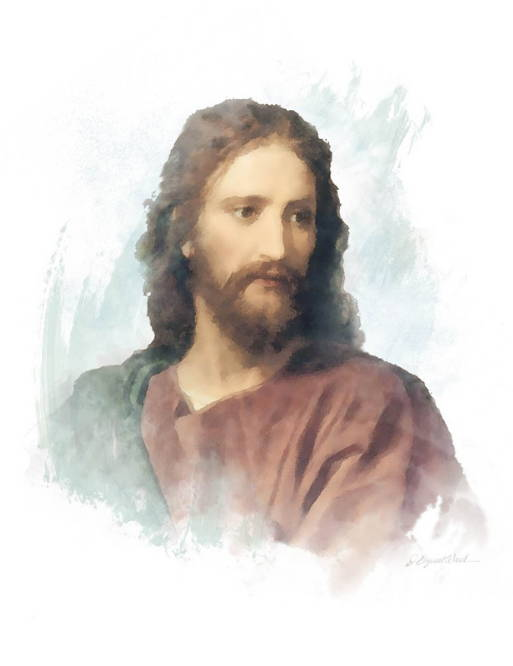 Watercolor portrait of Jesus in a red robe.
