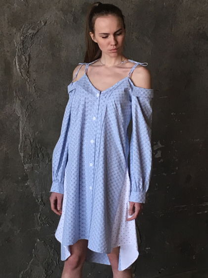 Сарафан-рубашка голубой из хлопка с белыми вставками