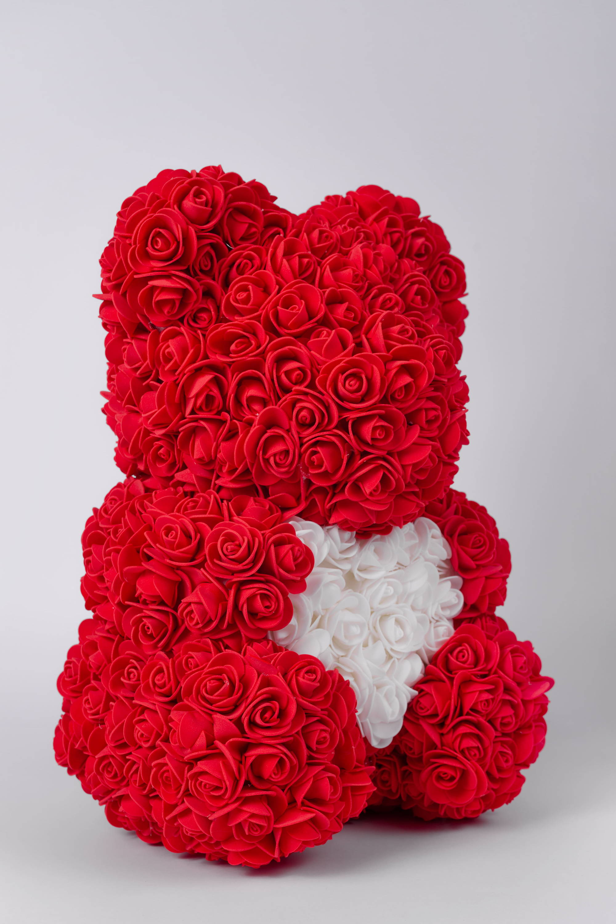 red rose bear, rose bear with heart