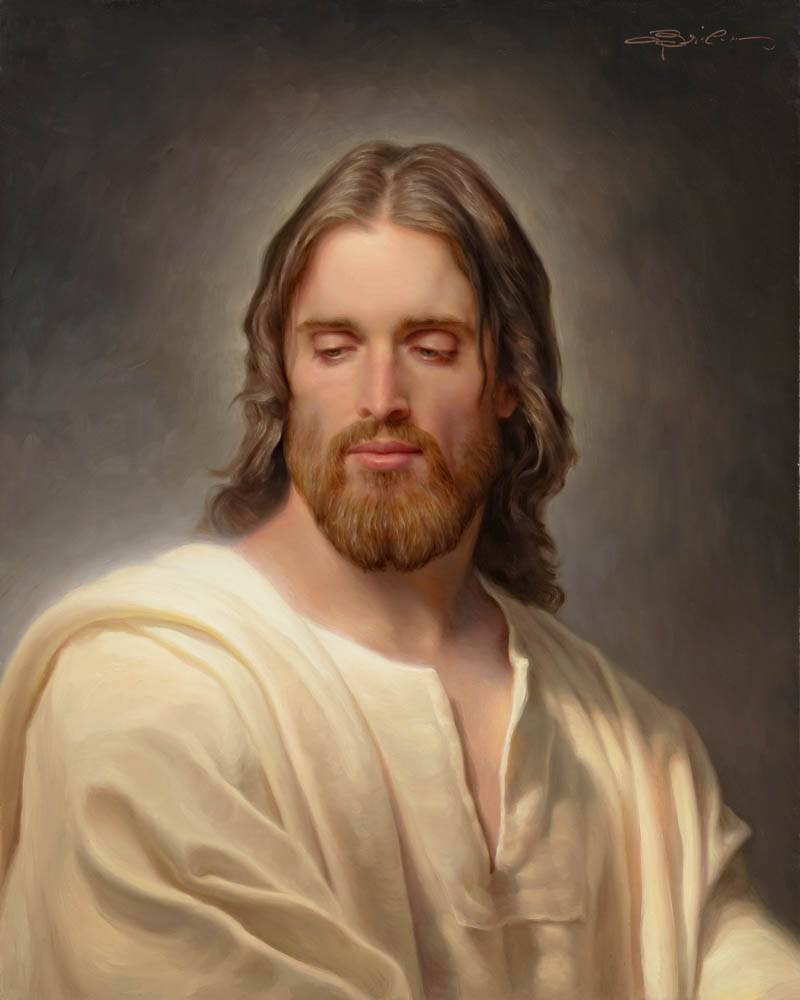 Classical style portrait of Jesus Christ against a gray backdrop.