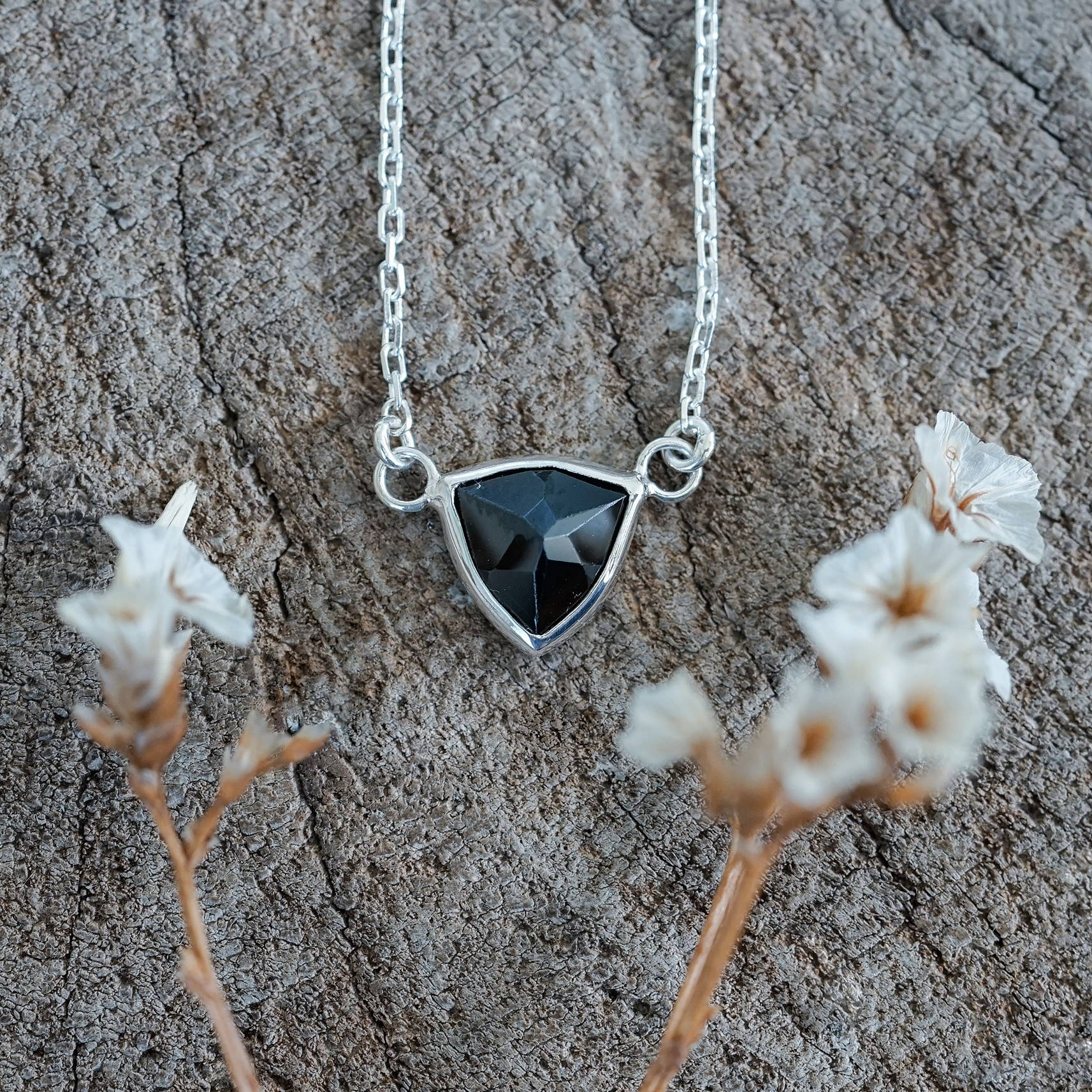 Black Spinel Necklace in Silver
