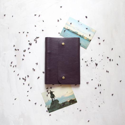 Кожаный ежедневник А5 фиолетовый на кнопках
