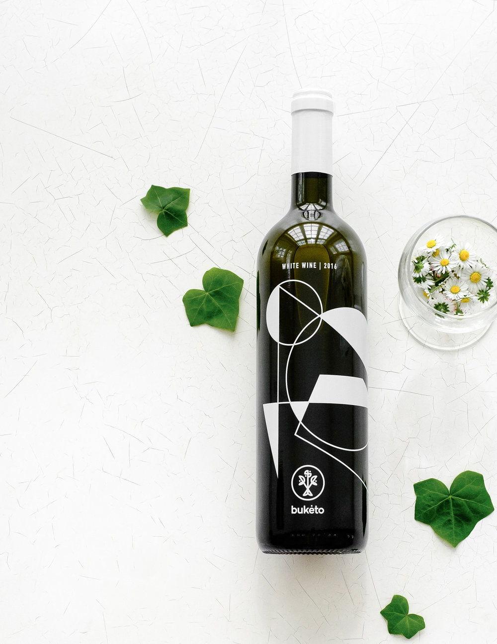 Buketo White wine design by Lazy snail Design