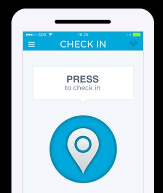 Checkin screen of app