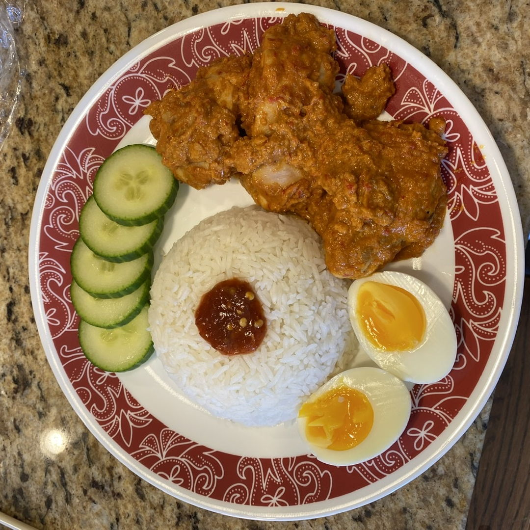 I used the Nasi Lamak and Chicken Rendang recipes from this site. These two together is truly the flavor of Malaysia!