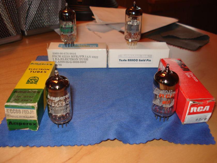4 6DJ8 6922 NOS tubes jan Amperex tesla RCA