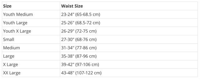 Diamond MMA Jock Size Chart