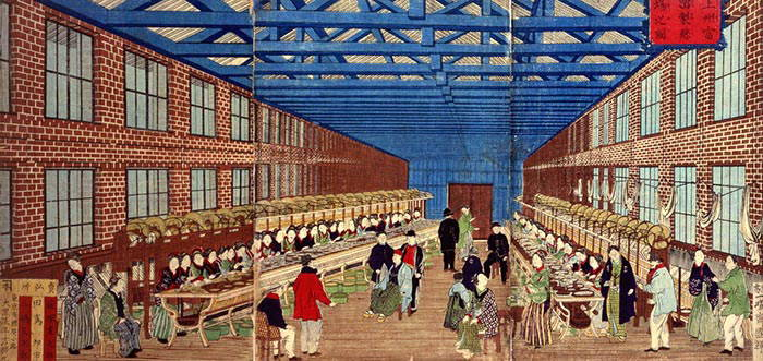 Tomioka silk mill depicted by a colour woodblock print