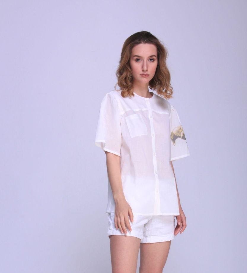 Женская блуза из хлопка с печатью на рукаве