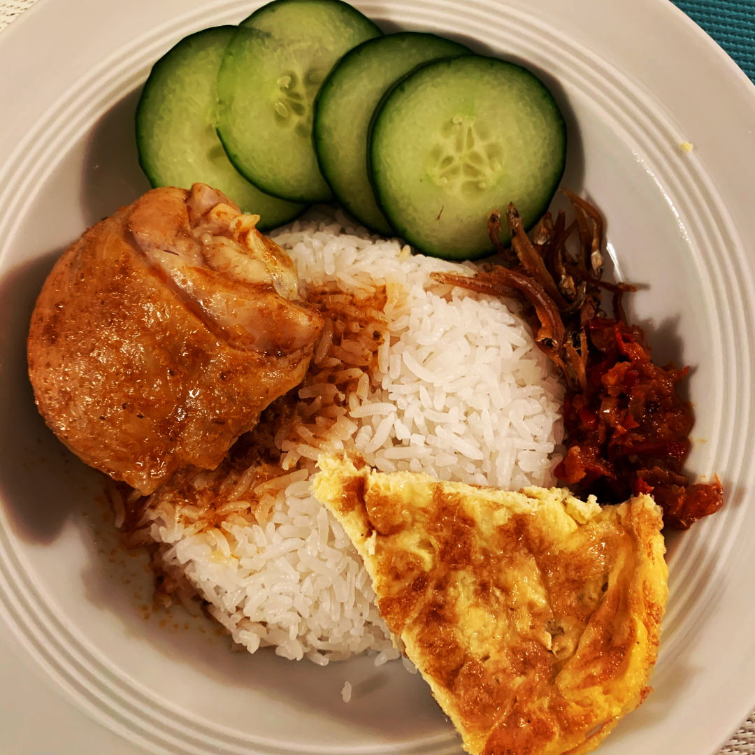 Nasi Lemak with Chicken Rendang and Thai Omelette